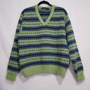Brooks Brothers wool v-neck sweater lime green L